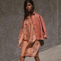 Aurora dress and Krasner jacket in Melon, Caron Callahan