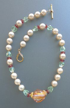melon !! 10mm Swarovski Pearls, Lampwork, faceted, 24mm  center bead, vintage glass, 148  17.5L