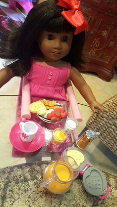 Our American Girl Doll Melody enjoyed her 1st Breakfast and is happy to have Hope-Faith as her Mom. Living in a box was no fun. She is most thankful for the love of a Family. @americangirlbrand