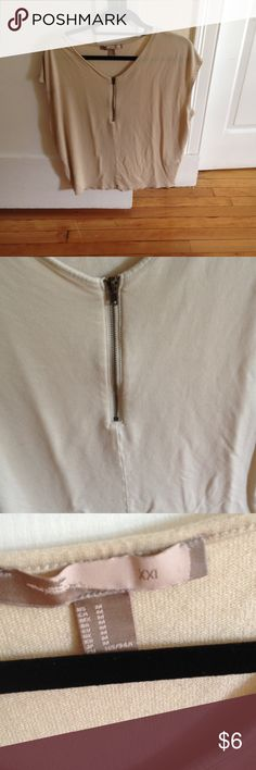 Beige zip up. $2.00 when purchased with deal. Worn twice! Super cute with leggings Forever 21 Tops Tees - Short Sleeve
