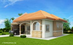 Hasinta is a bungalow house plan with three bedrooms and a total floor area of 124 square meters. Bungalow Floor Plans, Modern Bungalow House, Home Design Floor Plans, House Floor Plans, Dream House Plans, Modern House Plans, Affordable House Plans, Three Bedroom House Plan, Beautiful House Plans