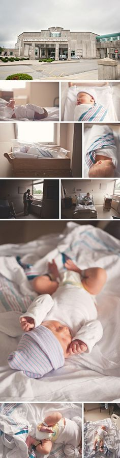 Hospital Newborn Photo session - I love the idea of a picture of the hospital itself, especially to document the day baby's born.