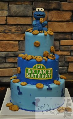 First birthday Cookie Monster cake