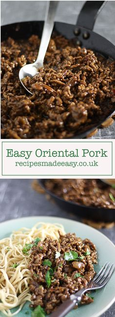 Easy Oriental Pork. A savoury mince flavoured with sweetchilli, oyster and soy sauce by http://recipesmadeeasy.co.uk