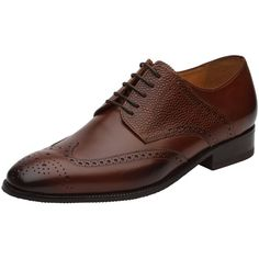 c41db36cdbc9a Handcrafted Leather Men s Wingtip Brogue Oxford Leather Lined Dress Shoes -  Brown - CZ180HWO5SO