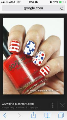 awesome Best 12 Simple July Nail Design Ideas – Patriot Day New Manicure Fashion Trend - Pepino Top Nail Art Design Fancy Nails, Love Nails, How To Do Nails, Pretty Nails, My Nails, July 4th Nails Designs, Nail Art Designs, 4th Of July Nails, Patriotic Nails