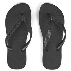Havaianas Unisex Top Flip Flops (175 DKK) ❤ liked on Polyvore featuring shoes, sandals, flip flops, flats, black, flat shoes, summer sandals, black flats, black thong sandals and black flip flops