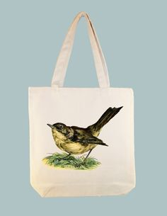 Beautiful Vintage Nightingale on 15x15 Canvas Tote - Larger zip top Tote style and personalization available