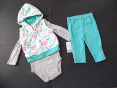 Carter's Baby Girl 3PcSet Size 6M Pants Creeper Vest New $14.99