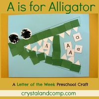 letter of the week: A is for alligator preschool craft. What you'll need: -Paper, Green, White, Blue -Black marker -Glue -Scissors Have the eyes cut out already and the green paper in strips so they can cut them into squares. Also have the letter A cu...