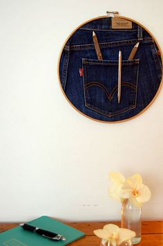Different! A pen/pencil holder made from a pair of jeans and a hoop by The Art of Doing Stuff,