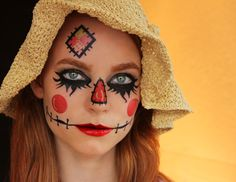 Scarecrow by sugartats: www.sugartats.com Temporary Makeup Tattoo - #Halloween2013 #Halloweenmakeup #scarecrow #Halloween