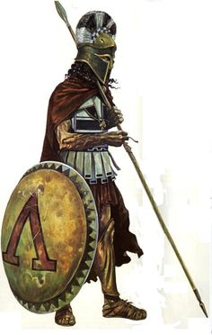 Illustration from John Warry's 'Warfare in the Classical World' (Salamander, 1980), shows a Spartan hoplite with the later linen cuirass augmented with bronze helmet, shield and greaves. It recalls the Spartan belief that long hair made an ugly man more hideous, and a handsome man more fearsome.