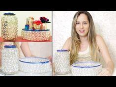 Como Fazer Artesanato com Potes Reciclados de Plástico e Vidro - Bandeja de Pedra - YouTube
