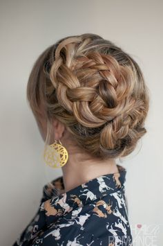 Asymmetrical Double Dutch Braids Updo. This would be a good everyday hair style or for a wedding.