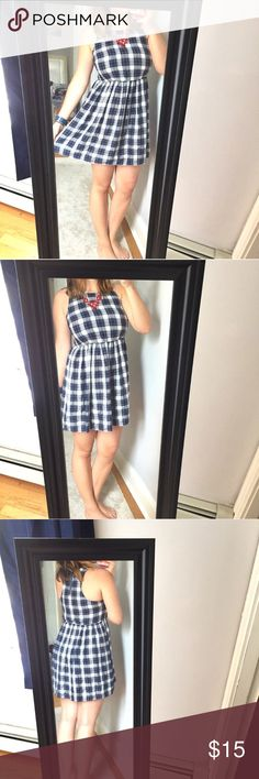 "Forever 21 blue and white plaid dress - Size: M - Material: 100% rayon - Condition: great - Color: blue, white, black - Pockets: no - Lined: no - Closure: zipper in back - Style: super cute plaid dress - Pair with: a red necklace like mine makes it patriotic - Extra notes:   *Measurements:  Bust: 16.5"" flat Waist: 14.25"" with elastic for stretch Length: 33.25"" Forever 21 Dresses Mini"