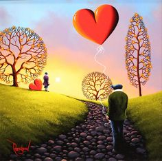 'Love on the Horizon' Original Oil painting on board by artist David Renshaw. From the Northern romance collection featuring Ted and Dorris!  Available at Wyecliffe Galleries: http://wyecliffe.com/collections/david-renshaw-original-art/products/david-renshaw-love-horizon #wyecliffe