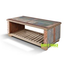 Recycled Boat Wood Coffee Table With Slat Rack Reclaimed Wood Furniture, Teak, Home Accessories, Recycling, Coffee, Table, Home Decor, Kaffee, Decoration Home