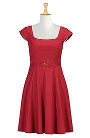 Bow tie belt cotton poplin dress