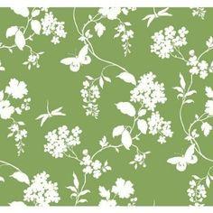 York Wallcoverings Green Scenic Vines Wallpaper in Green, White