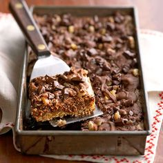 These chocolaty bars have three luscious layers -- one nutty and chewy, another thick and fudgy, and one smooth and creamy:http://www.bhg.com/recipes/desserts/chocolate/dark-chocolate-dessert-recipes/?socsrc=bhgpin041414trilevelbrownies&page=24