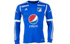 Millonarios Home long-sleeved jersey Wetsuit, Soccer Jerseys, Long Sleeve, Swimwear, Sleeves, Club, Tops, Fashion, Garter