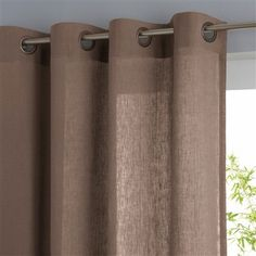 Light Linen Curtain, 7 Colours Light taupe beige+Charcoal grey+Ecru white+White+Taupe brown+Blue-grey