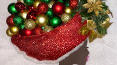 "/""White Christmas Tree/"" kit makes 2 ornaments  4/"" red green styrofoam ribbon seq"