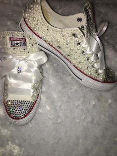 Your place to buy and sell all things handmade Bling Wedding Shoes, Wedding Converse, Bedazzled Shoes, Bling Converse, Wedding Stuff, Wedding Ideas, All Star Shoes, Decorated Shoes, Reception Ideas