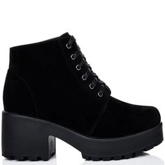 HOTHEAD Lace Up Cleated Sole Platform Block Heel Ankle Boots Shoes - Black Suede Style