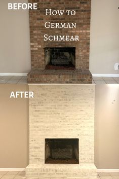 Do you need to update a brick fireplace? Let us show you how to mortar wash a fireplace to give it an updated look. This technique is also known as German schmear. Check out our DIY step-by-step instructions. Update Brick Fireplace, Brick Fireplace Wall, White Wash Brick Fireplace, Painted Brick Fireplaces, Home Fireplace, Fireplace Design, Brick Fireplace Remodel, Fireplace Diy Makeover, Modern Fireplace Mantles