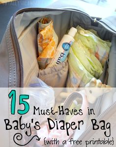 15 Must-Haves in Baby's Diaper Bag {with a free printable}