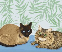 Custom Pet Portrait of 2, Made To Order Animal Drawing Of Your Pet Baby 8x12' Print. $135.00, via Etsy.