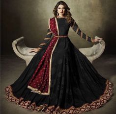 black anarkali anarkalisuit salwarkameez pure georgette heavy embroidery santoon fabric lycra jacquard santoon maroon colour micro tone velvet dupatta party wear occasional wear is part of Party wear indian dresses - Gown Party Wear, Party Wear Indian Dresses, Indian Gowns Dresses, Indian Bridal Outfits, Indian Fashion Dresses, Dress Indian Style, Indian Designer Outfits, Pakistani Dresses, Dresses Dresses