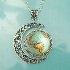 Vintage Globe Necklace Planet Earth World Map Art Pendant Moon jewelry BFF Gifts #Handmade #Pendant