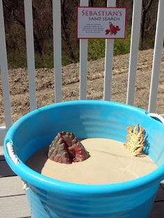 ACTIVITY --  1) fill a bucket with play sand.  2) Hide sea shells.  3) They can search for the 3 shells they get to take home or however many