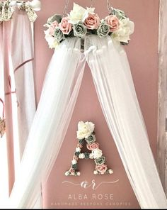 Canopy and matching Initial surrounded in flowers - Baby & Room Decor - Kinderzimmer Baby Bedroom, Baby Room Decor, Nursery Room, Girl Nursery, Girls Bedroom, Girls Flower Bedroom, Canopy Crib, Girl Rooms, Baby Girl Nurserys