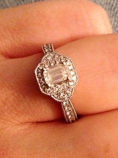 My gorgeous emerald cut vintage diamond engagement ring.