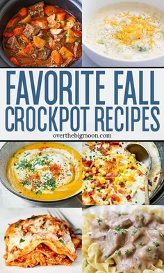 A fun collection of 35+ Fall Crockpot Recipes that are perfect for dinner time as the temperatures cool down this Fall and Winter! From overthebigmoon.com #fallcrockpot #wintersoups #crockpotsoup #crockpotrecipes #slowcookerrecipes