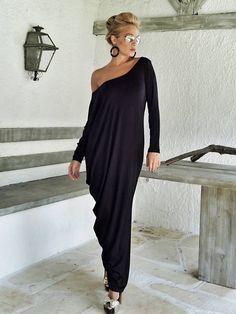 Manga larga Maxi vestido negro / negro Kaftan / asimétrico
