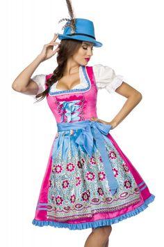 97e720aa57d348 Designer #Dirndl mit Handstickereien blau/pink - Kleidung Onlineshop