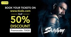 There will be destruction with Shivaay, this Diwali! Advance booking started already! FLAT 50% DISCOUNT Hurry up! Kajol Devgan +Ajay Devgn  Book Now: tixdo.com #MovieTickets   #MovieTicketsbooking     #HalfpriceMovieTickets   #Diwali   #Shivaay Movie Tickets, Half Price, Destruction, Diwali, Flat, Books, Movie Posters, Livros, Bass