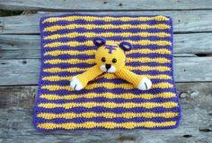 Custom Crochet Stuffed Tiger Lovey Blanket Mini Blanket Photography Prop Toy LSU Auburn Football Green Purple Blue Orange White Yellow Grey by TheStorkStitcher on Etsy