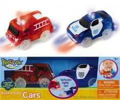 Build-A-Road Light-Up Cars and over 7,500 other quality toys at Fat Brain Toys. Made specifically for Build-A-Road, these emergency vehicles are looking forward to driving on your creation! The fire truck and police vehicle light up while they drive, so it's even fun to turn off the lights and watch them whir around the road!