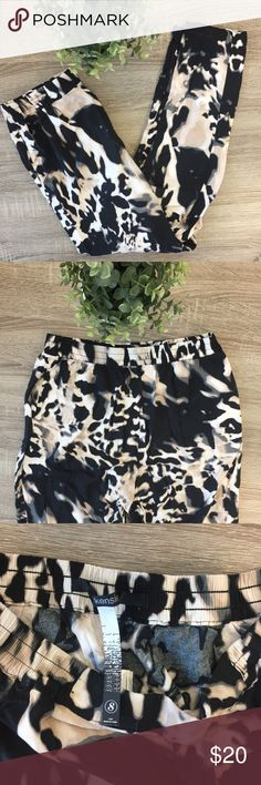 Kenzie Animal Print Joggers Statement pants! These are comfy and loose joggers. They have pockets. Size small, but I would say they run bigger (I wear a medium and they are a good fit). Kensie Pants