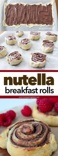 Easy Nutella & Raspberry Breakfast Rolls Who says you can't have Nutella for breakfast? Here's an easy recipe to make stuffed Nutella breakfast rolls. Head over to MoneySavingSister… to see the recipe. Nutella Breakfast, Nutella Snacks, Raspberry Breakfast, Breakfast Bake, Breakfast Recipes, Nutella Rolls, Easy Nutella Recipes, Nutella Crescent Rolls, Easy Recipes