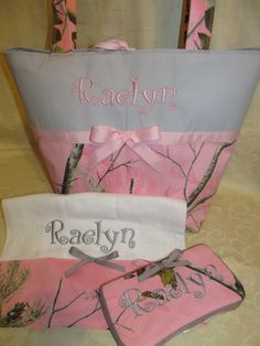 Custom Handmade Realtree pink grey camo camouflage diaper bag set with travel wipes and burp cloth, you choose name on Etsy, $69.99