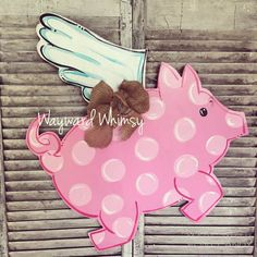 Flying pig Wood Cut Out Door Hanger by TheWaywardWhimsy on Etsy Wooden Crafts, Wooden Diy, Wooden Signs, Pig Crafts, Cute Crafts, Spring Wreaths For Front Door Diy, Burlap Door Hangers, Wooden Cutouts, Painted Boards