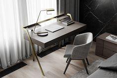 - rcSubbota - on Behance Study Table Designs, Study Room Design, Home Room Design, Home Office Design, Design Bedroom, Office Decor, Sofa Furniture, Furniture Design, Modern Interior