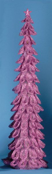 Lighted Looped Mauve Pink Glitter Christmas Tree Decoration